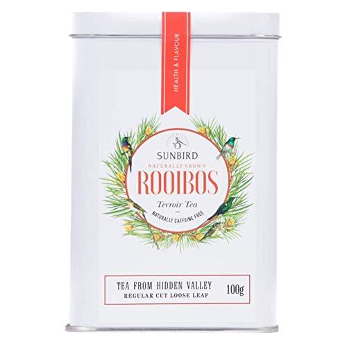 Sunbird Rooibos - Hidden Valley Rooibos Natural Hojas Enteras - Certificado Orgánico - Rico en antioxidantes - Sin cafeína - Relajante - Desintoxicante - Té Saludable - 100 g