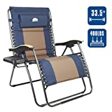 Coastrail Outdoor Oversized Zero Gravity Chair Wood Armrest Padded XXL Folding Patio Lounge Adjustable Recliner with Cup Holder & Side Table, 400lbs Weight Capacity, Blue&Brown