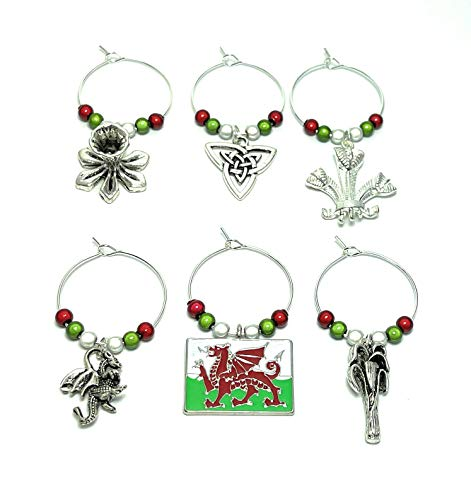 Wales Welsh Design Wine Glass Charms with Organza Gift Bag