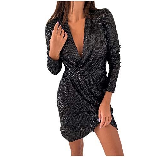 Lotus.Flower Women Deep V Sequins Wrap Ruched Long Sleeve Nightclub Dress