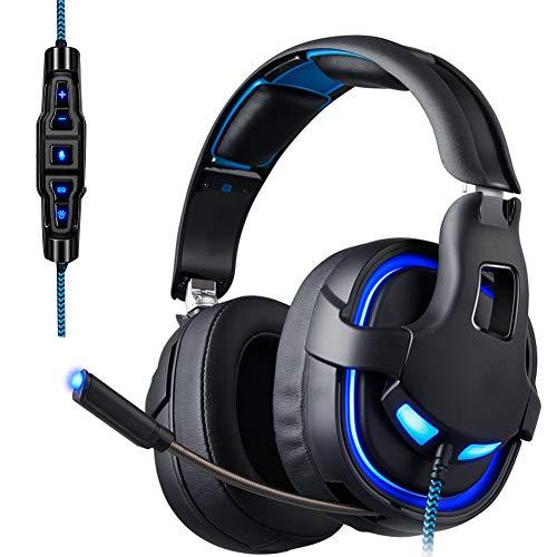 ENEN Casque de Jeu Casque Filaire USB, Microphone de réduction du Bruit du Son Surround 7.1 Ajusteur de Faisceau de tête réglable lumière Froide RVB, adapté pour PC