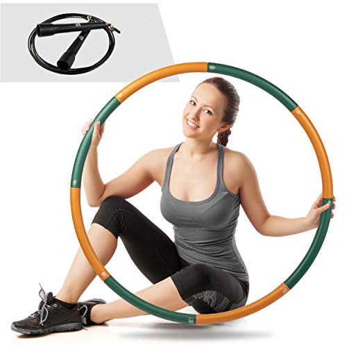 Ryno Tuff Hula Hoops for Adults - 2LB Weighted Hula Hoop with Extra Thick Foam Padding, Carry Bag, and Free Bonus Jump Rope - Weighted Hula Hoops for Exercise 8 Detachable Sections for Easy Storage