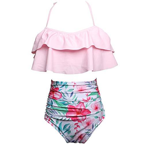 Lbyhning Badpak voor dames, bikini sexy high waist split badpak, halster met hangende print, zeer elastisch, sneldrogend, plissé design X-Large B
