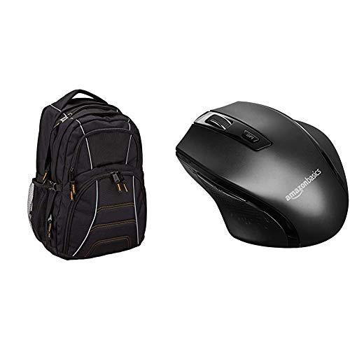 Amazon Basics Laptop Computer Backpack with padded shoulder straps and Organizational compartments (Black) & Ergonomic Wireless Mouse - DPI adjustable - Black