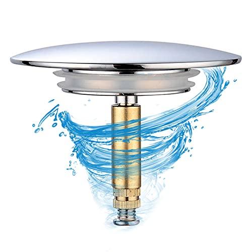 YADIMI Tapón Desague para Bañera Adecuado para 44 mm de Diámetro de la Alcantarilla con Innovador Sellado Doble de Latón con Superficie Cromada
