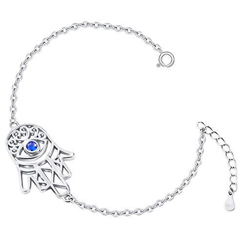 Clever Schmuck Pulsera plateada para mujer con diseño de mano de Fátima, 19 cm, con piedra de ojo azul oscuro y muchas circonitas blancas brillantes, plata de ley 925, en estuche azul