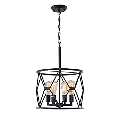 HMVPL 4-Lights Industrial Pendant Lighting Fixtures, Farmhouse Swag Chandeliers Hanging Ceiling Lamp for Kitchen Island Dining Room Bedroom Foyer Hallway Front Door