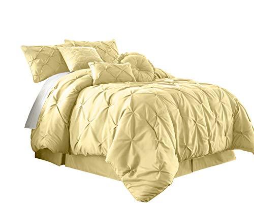 Chezmoi Collection Sydney 7-Piece Pinch Pleat Pintuck Bedding Comforter Set (King, Yellow)