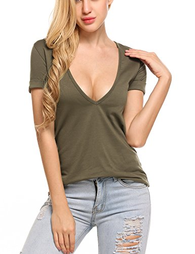 Beyove Women's Deep V T-Shirt Summer Short Sleeve Loose Casual Tee Shirt Army Green