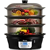 COSTWAY Food Steamer Vegetable Steamer 3 Tier Stackable Baskets 20 Quart Capacity 1000W Fast Heat-Up...