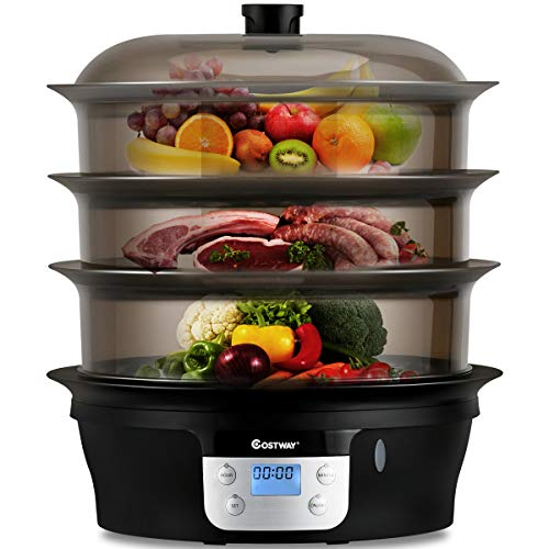 COSTWAY Food Steamer Vegetable Steamer 3 Tier Stackable Baskets 20 Quart Capacity 1000W Fast Heat-Up Timing, Automatic Shut Off, Appointment Electric...
