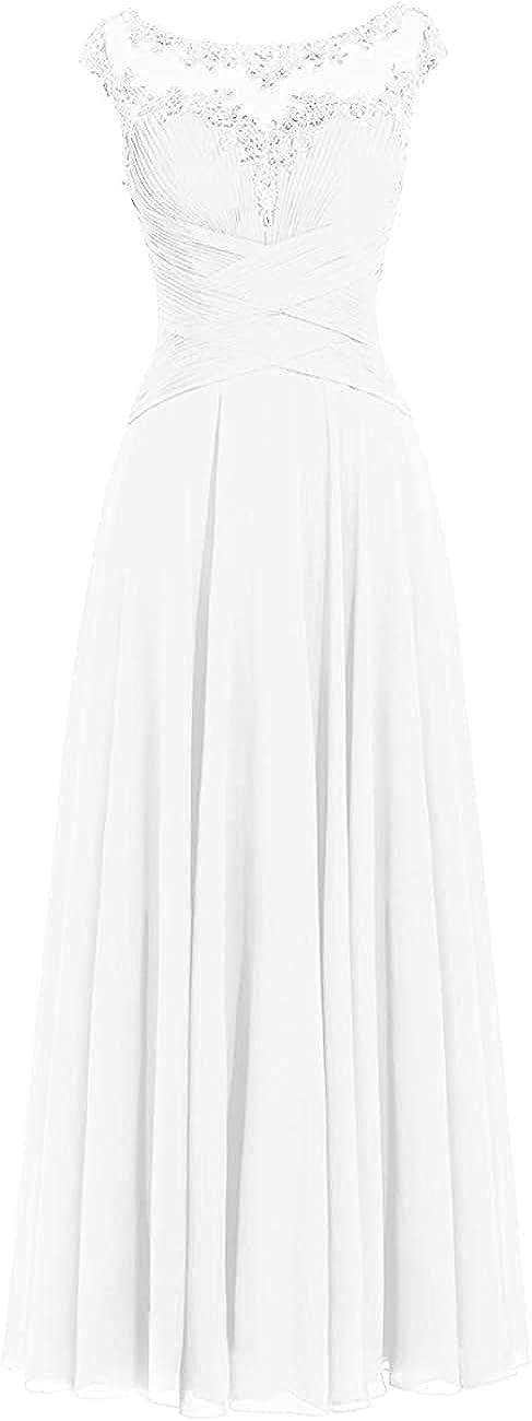 Ranle Women's Beaded Chiffon Wrap Waist Dress Formal Wedding Evening Dress Prom Dress