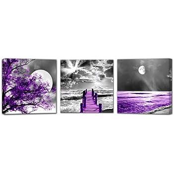"""3 PANELS 41/"""" X  26/"""" PURPLE MOON LANDSCAPE CANVAS WALL ART PICTURE"""