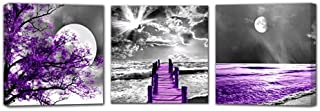 HUADAOART Landscape Moon Canvas Prints Purple Landscape Canvas Printings Wall Art for Home Decor Perfect 3 Panels Wall Decorations Size:12X12inches 3pcs/Set