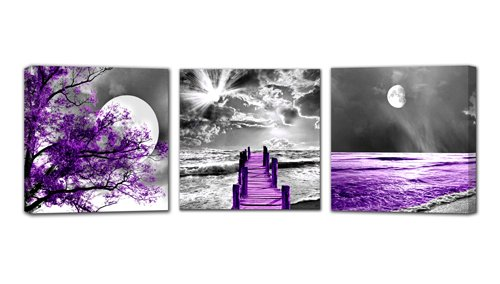 Landscape Moon Canvas Prints Purple Landscape Canvas Printings Wall Art for Home Decor Perfect 3 Panels Wall Decorations Size:12X12inches 3pcs/Set