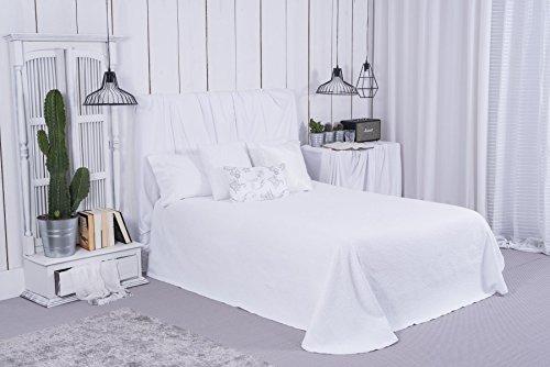 CLARA VIDAL - Colcha de piqué Alazan Disponible en Blanco y Beige para Camas de 135, 150 y 180 cm. Oferta Ideal para hostelería, hoteles, hostales. (235 x 265 cm, Blanco)