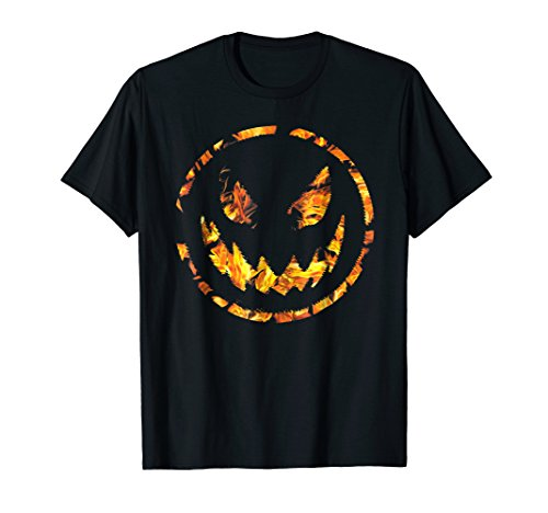 Evil Smiley T-Shirt Face On Fire Pumpkin Scary Halloween