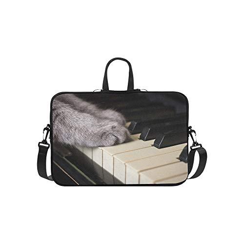 Pfoten Einer Katze auf einem Klavier Muster Aktentasche Laptoptasche Messenger Schulter Arbeitstasche Crossbody Handtasche für Geschäftsreisen