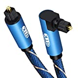 90 Degree Toslink Optical Cable 360 Degree Free-Rotating Plug Fiber Optic Cable S/PDIF Toslink Male to Male Cable for Home Theater, Sound Bar, TV, PS4, Xbox,Blue (10ft/3m)