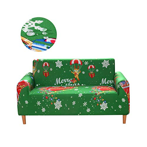 xiao S 2021 Waterproof Sofa Cover Elastic Sofa Covers for Living Room Printed Couch Cover Sectional Sofa Cover Stretch Slipcover-Merry Christmas-4-seater 235-300cm