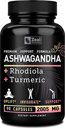 Ashwagandha Complex - Organic Ashwagandha Root Powder + Rhodiola Rosea + Turmeric - 100% Pure Ashwagandha Capsules Supplement - for Adrenal Support, Stress Support