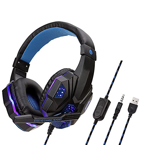 urjipstore Gaming Headset Professional Led Light Gaming Headphones for Pc for Ps4 Adjustable Bass Stereo Pc Gamer Over Ear Wired Headset with Mic