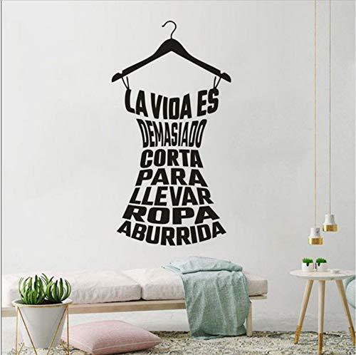 Olivialulu Spaanse kleding Rack Muursticker Wasruimte Decoratie Thuis Vinyl Kleding Rack Quote Muurstickers Verwijderbare Poster Xy09 57 * 107Cm