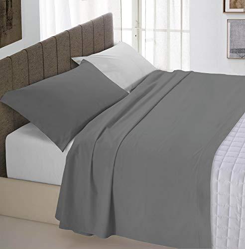 Italian Bed Linen Natural Color Completo Letto Doppia Faccia, 100% Cotone, Grigio Chiaro/Fumo, Piazza e Mezza, 3 unità