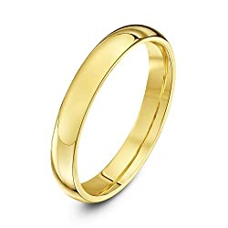 Solid 9 ct gold (375 hallmark) ring, handmade using pure fine gold Manufactured in London (UK) Highly polished finish ensures a mirror-like shine Comfort fit - otherwise known as court shape where the ring is rounded on the inside giving it a luxurio...