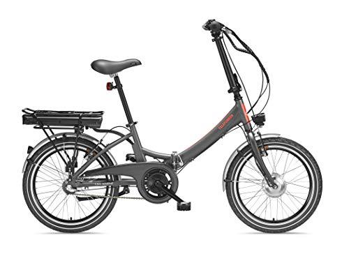 Telefunken E-Bike Klapprad Elektrofahrrad Alu, grau, 7 Gang Shimano Kettenschaltung - Pedelec Faltrad leicht, 220W und 10,4 Ah/36V Lithium-Ionen-Akku, LCD-Display, Reifengröße: 20 Zoll, Kompakt F803