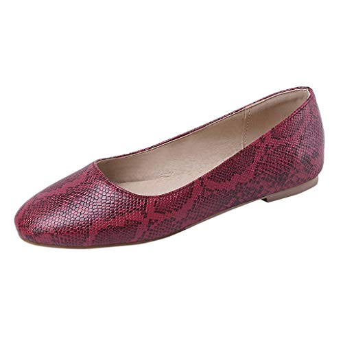 Best Bargain Womens Bellet Flats for Work, Lady Snake Print Slip-On Pointed Toe Dress Flats Breathab...