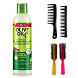 ORS Olive Oil Incredibly Rich Oil Moisturizing Hair Lotion (Including 2 Piece Wide Tooth Detangle Hair Comb Set & 2 pc Colorful Handle Nylon Bristles Brushes) Original Root Stimulator Kit