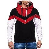 Luckycat Sweat-shirt à capuche Raglan de Bloque de couleur irrégulière pour homme, Sweat-shirt de poche décontracté avec cordon de serrage à manches longues d'automne et d'hiver, rouge, S