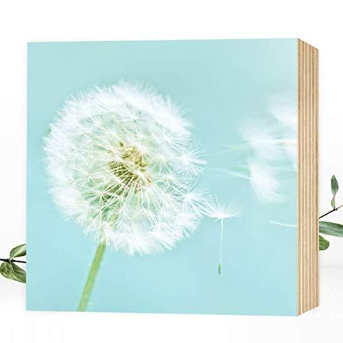 Wunderpixel® Holzbild Pusteblume I - 15x15x2cm zum Hinstellen/Aufhängen, echter Fotodruck mit Foto auf Holz - schwarz-weißes Wand-Bild Aufsteller zur Dekoration oder Geschenk