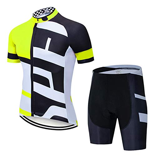 Cycling Clothes Jersey and Bib Short Sleeve Bicycle Top +9D Gel Padded Cycling Bib Shorts Mens Padded Mens Bib Shorts Cycling Trikot ärmellos Herren (Yellow,XS)