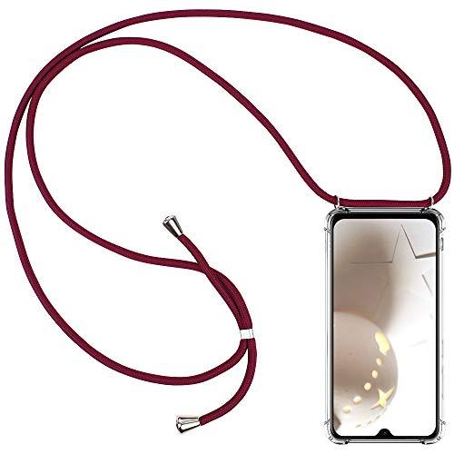 CLM-Tech Carcasa con Cuerda para Colgar Compatible con Xiaomi Mi 9 SE - Funda Silicona Transparente con Cordon para Llevar en el Cuello, Rojo