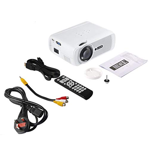 002-fr3-ES LESHP Proyector de Video LED Multimedia 1080P HD Office Home Cinema BL-80 1000: 1 Blanco Reino Unido