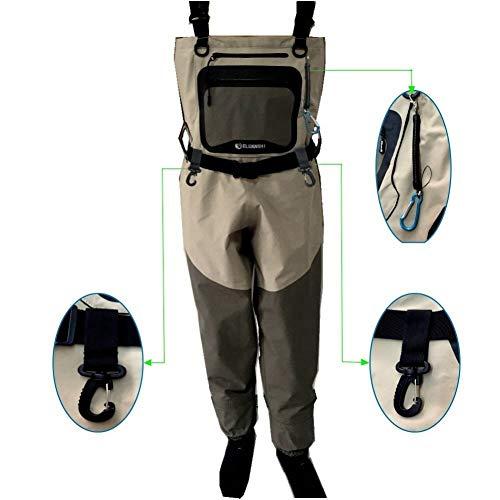 JINJIONG Pesca con Mosca Cofres Transpirables Pantalones de vadeadores Botas de Lluvia tácticas Hombres Zapatos de vadeo Calcetines de Goma Monos para pies