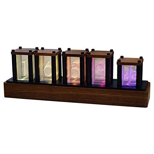 ニキシー管風置き時計 レトロモダン木製クロック 1600万色 RGBフルカラーLEDデジタル時計 ニキシー管風DIY卓上時計インテリア (ブラックウォールナット)