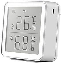 SNOWINSPRING Tuya WIFI Interior LCD Pantalla Digital TermóMetro HigróMetro Sensor Temperatura Humedad Trabajo con Alexa Home