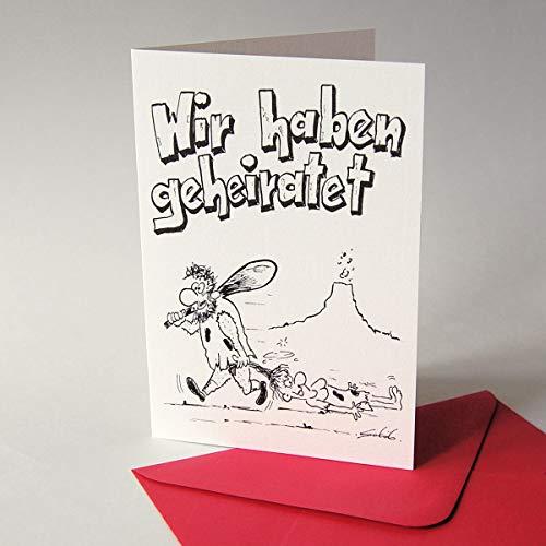 10 lustige Karten für nach der Hochzeit, Richard Schöb: Wir haben geheiratet - Klappkarten inkl. rotem Umschlag