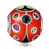 NINAQUEEN Charm Pandora adattarsi Coccinella Idee Regalo Donna Argento 925 Smalto Perline per la Madre Fidanzata Moglie
