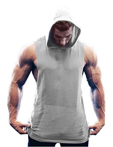 COOFANDY Men's Workout Hooded Tank Tops Bodybuilding Muscle Cut Off T Shirt Sleeveless Gym Hoodies Grey