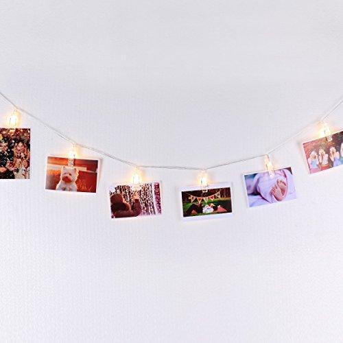 Filo 4,5m per Appendere Foto Immagini Cartoline e Appunti con LED Bianco Caldo con Timer Automatico ON/OFF Carica USB, Decorazione da Muro Essenziale Di Mojocraft