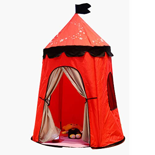 YUANYI Teepee Tent For Kids/Girl Play Tent Toys For Girls/Boys Indoor And Outdoor, Natural Polyester Canvas Children Castle Tipi Tent,Red