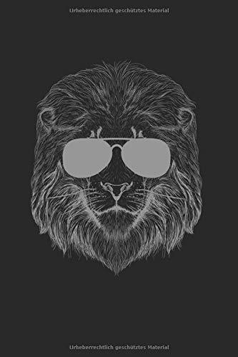Cooler Löwe mit Sonnenbrille Notizbuch: süßer Löwe Notizheft A5 kariert Rechenheft Notizblock für Katzen Mamas Journal Schulheft Geschenk für Kinder Heft mit Kästchen