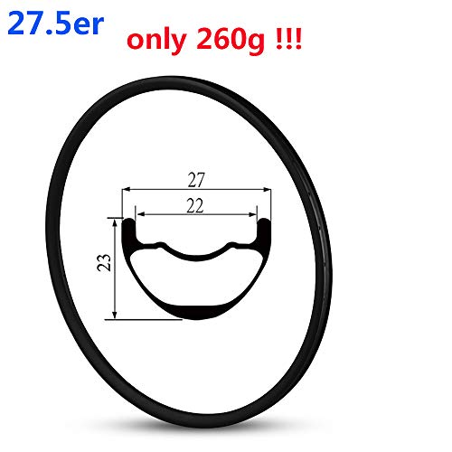Yuanan 650B 260 g Super Light Poids Jante Carbone Tubeless Ready 27 mm Largeur 23 mm de...