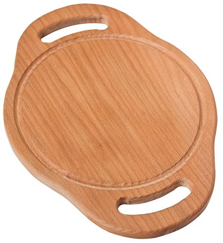 Round Wooden Cutting Board With Handles & Juice Groove – Premium 10x14'' Solid Wood Serving Board – Reversible Wood Chopping Board, Cheese Board, Large Trivet for Hot Dishes – Smooth, Sturdy, Durable.