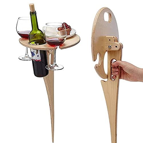 Outdoor-Weintisch für Picknick, Halter, tragbar, zusammenklappbar, mit rundem Schreibtisch, Holz-Picknicktisch für Outdoor-Picknick, Weinglashalter, Gartenarbeit, Reisen, Camping, Grillen, Party (B)