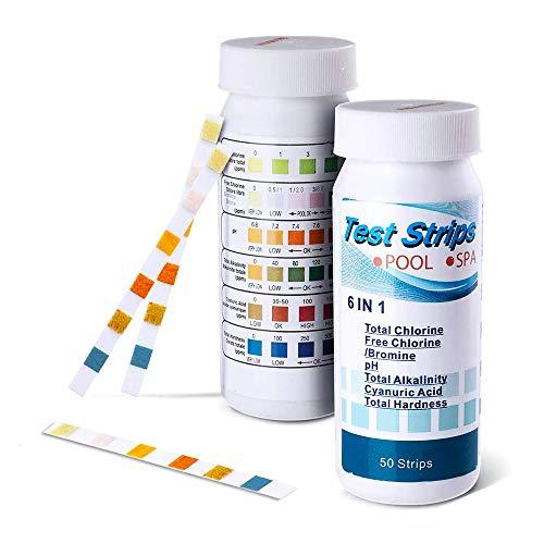6 IN 1 Teststreifen-Kit 100 Stück, Pool Spa & Whirlpool Chemikalien Teststreifen zur schnellen Messung von restlichem Chlor in Wasser PH Gesamthärte Alkalität
